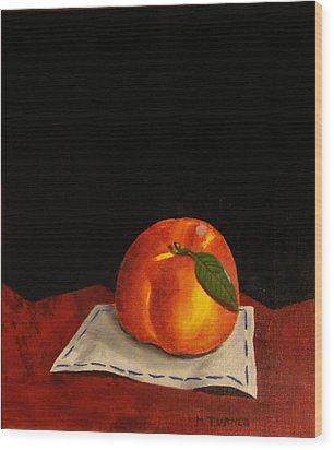 Wood Print featuring the painting A Peach by Melvin Turner