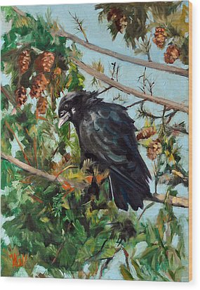 A Perch For Nevermore Wood Print by Pattie Wall