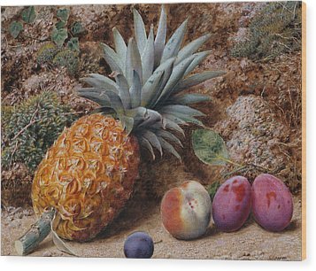 A Pineapple A Peach And Plums On A Mossy Bank Wood Print