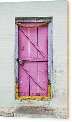 A Pink Door Wood Print by Tim Gainey