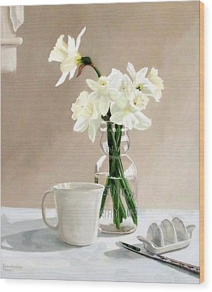 Wood Print featuring the painting A Pint Of Daffodils by Sandra Chase