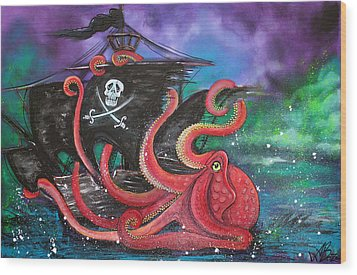 A Pirates Tale - Attack Of The Mutant Octopus Wood Print by Laura Barbosa