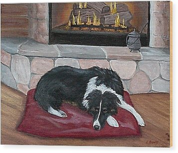 Wood Print featuring the painting A Place By The Fire by Fran Brooks