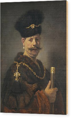 A Polish Nobleman Wood Print by Rembrandt