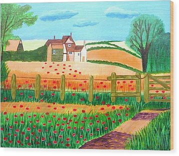 A Poppy Field Wood Print by Magdalena Frohnsdorff