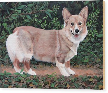 Wood Print featuring the painting A Portrait Of Pickle by Sandra Chase