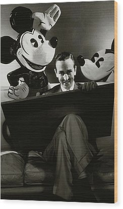 A Portrait Of Walt Disney With Mickey And Minnie Wood Print by Edward Steichen