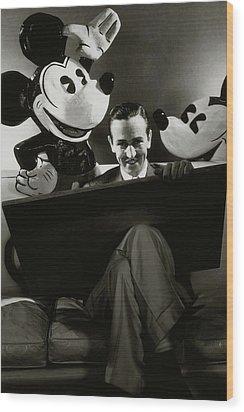A Portrait Of Walt Disney With Mickey And Minnie Wood Print by Edward Steichen