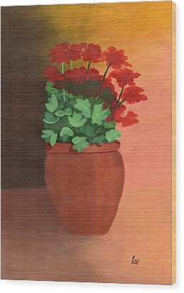 A Pot Of Geraniums Wood Print by Bav Patel