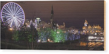 A Princes Street Gardens Christmas Wood Print by Ross G Strachan