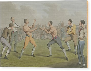 A Prize Fight Aquatinted By I Clark Wood Print by Henry Thomas Alken