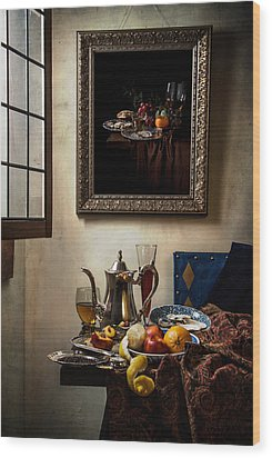 A Pronkstilleven From Vermeer To Kalf Wood Print by Levin Rodriguez