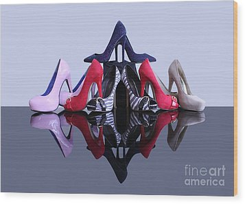 A Pyramid Of Shoes Wood Print by Terri Waters
