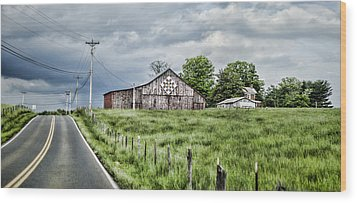 A Quilted Barn Wood Print by Heather Applegate