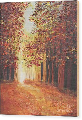 A Quite Walk Wood Print by Christie Minalga