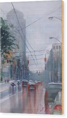 A Rainy Day In Dayton Wood Print by Gregory DeGroat