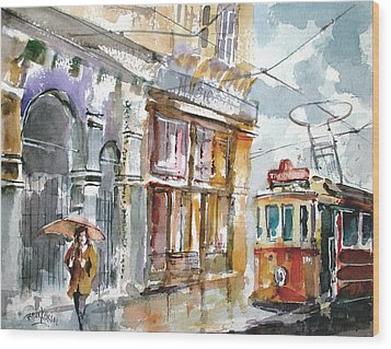 Wood Print featuring the painting A Rainy Day In Istanbul by Faruk Koksal