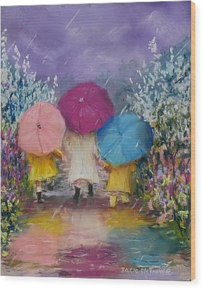 A Rainy Day Stroll With Mom Wood Print by Jack Skinner