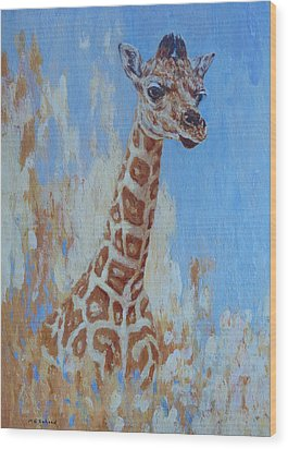 Wood Print featuring the painting A Rare Giraffe by Margaret Saheed