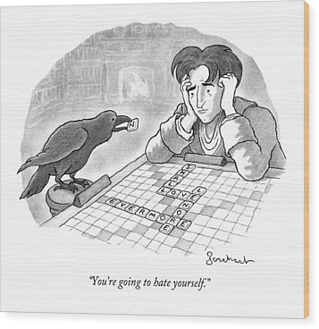 A Raven Is About To Add An N To The Word Evermore Wood Print by David Borchart