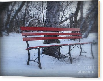 A Red Bench Waiting For Spring Wood Print