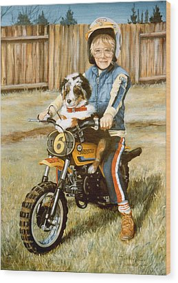 A Ride In The Backyard Wood Print by Donna Tucker