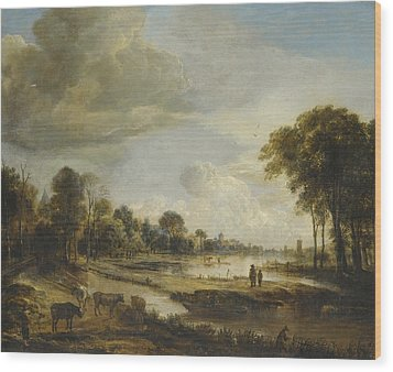 Wood Print featuring the painting A River Landscape With Figures And Cattle by Gianfranco Weiss