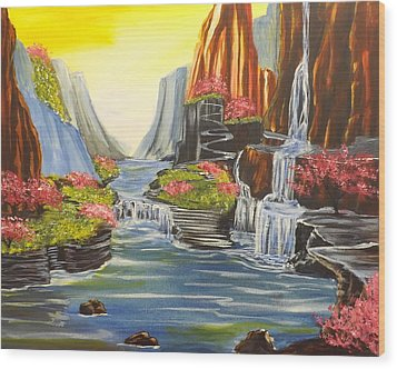 Wood Print featuring the painting A River Runs Through It by Darren Robinson