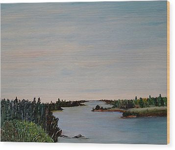 Wood Print featuring the painting A River Shoreline by Marilyn  McNish