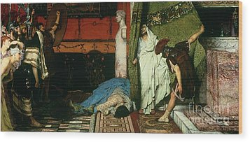 A Roman Emperor   Claudius Wood Print by Sir Lawrence Alma Tadema