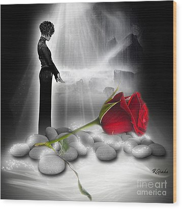 Wood Print featuring the digital art A Rose For Whitney - Fantasy Art By Giada Rossi by Giada Rossi