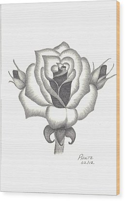 A Rose  Wood Print by Patricia Hiltz