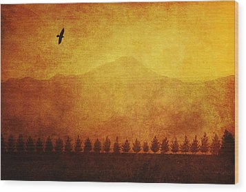 A Row Of Trees And A Raven Silhouetted Wood Print by Roberta Murray
