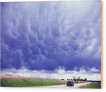 A Rural Nebraska Highway And Magnificent Sky Wood Print by Tyler Robbins