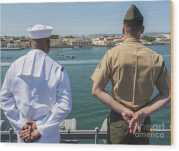 A Sailor And Marine Man The Rails Wood Print by Stocktrek Images