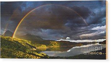 A Scottish Highland Rainbow Kylesku Wood Print by John Farnan
