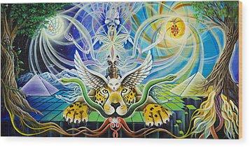 A Shaman's Journey Through The Heart Of The Sun Wood Print by Morgan  Mandala Manley