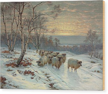 A Shepherd With His Flock In A Winter Landscape Wood Print by Wright Baker