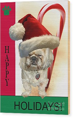 Wood Print featuring the digital art A Shih Tzu's Happy Holidays Greeting by Polly Peacock