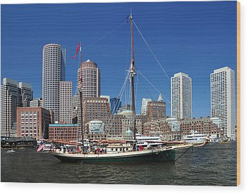 Wood Print featuring the photograph A Ship In Boston Harbor by Mitchell Grosky