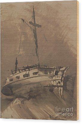 A Ship In Choppy Seas Wood Print by Victor Hugo