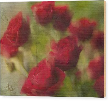 A Shower Of Roses Wood Print by Colleen Taylor