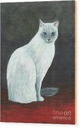 Wood Print featuring the painting A Siamese Cat On Red Mat by Jingfen Hwu