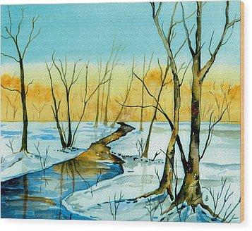 A Sign Of Winter Wood Print by Brenda Owen