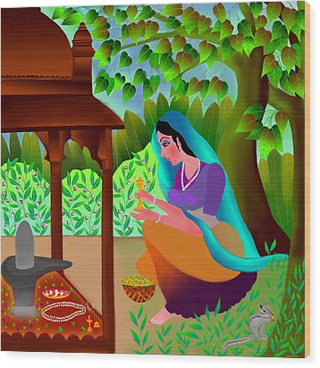 Wood Print featuring the digital art A Silent Prayer In Solitude by Latha Gokuldas Panicker