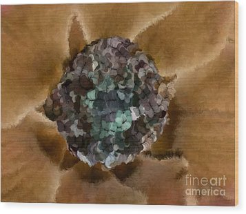 A Sky Full Of Lighters Brown Teal Wood Print by Holley Jacobs