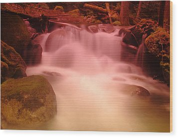 A Small Waterfall Along The Old North Cascade Highway  Wood Print by Jeff Swan