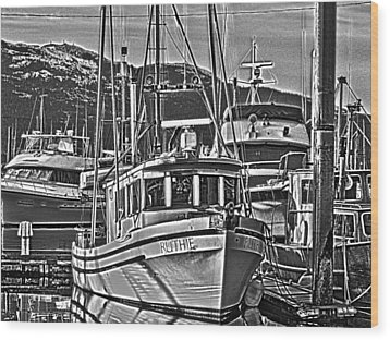 Wood Print featuring the photograph A Small Wooden Fishing Boat by Timothy Latta
