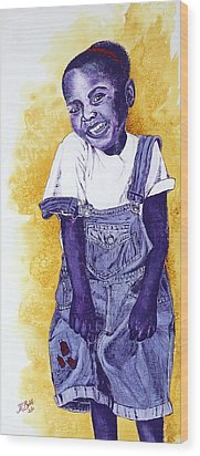 A Smile For You From Haiti Wood Print by Margaret Bobb