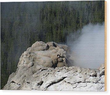 A Smoking Man. Yellowstone Hot Springs Wood Print by Ausra Huntington nee Paulauskaite